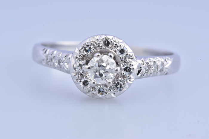 18 kt. White gold - Ring - 0.52 ct Diamond