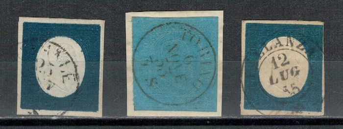 Sardinië 1851/1854 - 20 cents light blue 2nd issue; 20 cents light blue 3rd issue, two pieces in different colours - Sassone NN. 5; 8