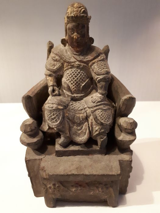 Sculpture (1) - Wood - Seated Guan Yu - Zittende Guan Yu. - China - 19th century