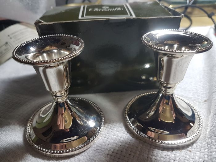 """Christofle """"pearls"""" table candlestick - Silver plated"""
