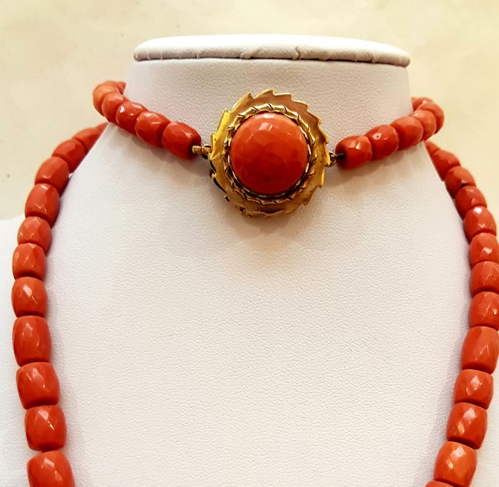 14 kt. Pink gold - Splendid red Sardinia coral necklace
