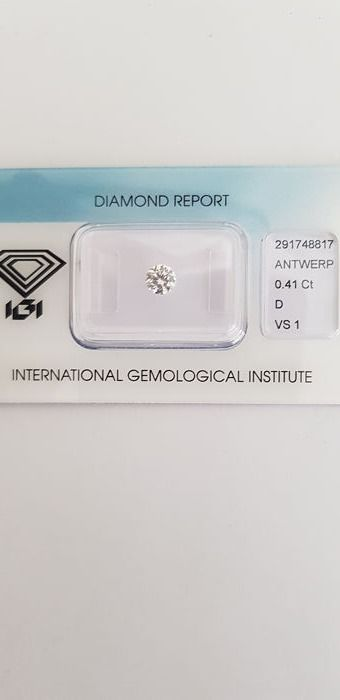 1 pcs Diamant - 0.41 ct - Brillant - D (farblos) - VS1