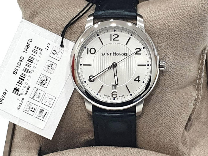 """Saint Honorè - """"NO RESERVE PRICE """" ORSAY - Withe Dial & Genuine Leather - 8610401ABFD - Swiss Made - Heren - 2011-heden"""