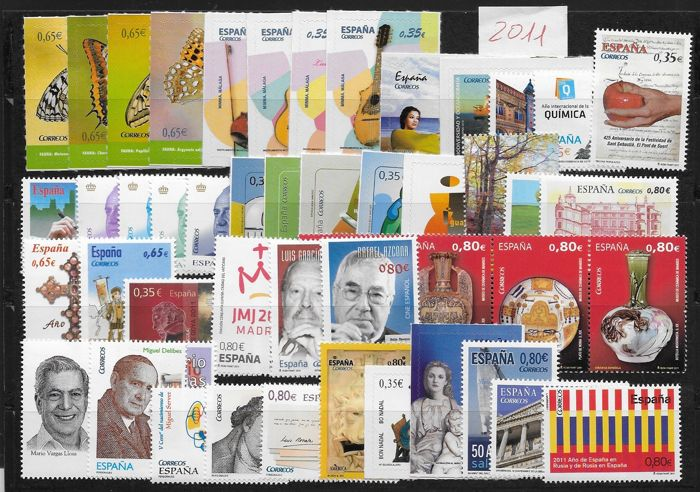 Spanje 2011 - Complete year of stamps, mini-sheets and booklet - Edifil 4613/4680