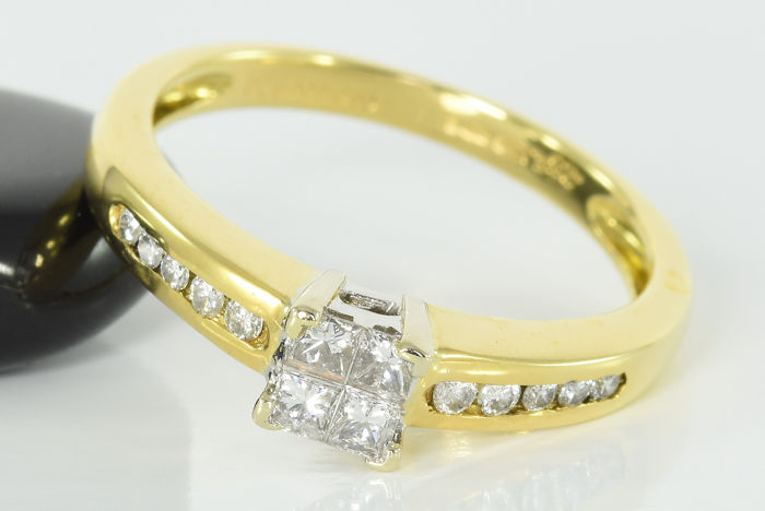 18 kt. Gold - Ring - 0.25 ct Diamond