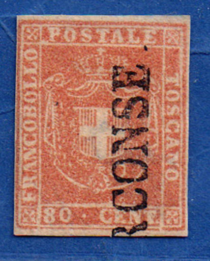"Toscane 1860 - 80 c. pale pink bistre, cancelled ""PERCONSE"" - without the last letters - Sassone N. 22a"