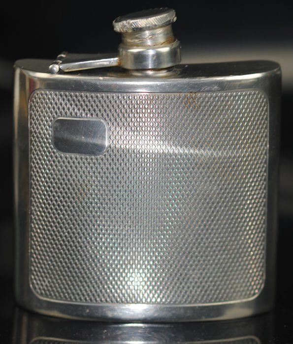 Embossed Hip Flask - Pewter