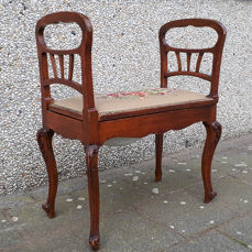 French bidet seat with petit point seat - wood-porcelain fabric - 19th century