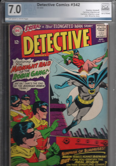 Detective Comics #342 PGX 7.0 - Batman- Silver Age - Fine to Very Fine Condition - EO - (1965)