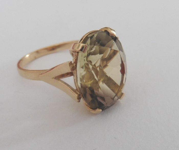 18 kt. Yellow gold - Ring - 9.10 ct Citrine