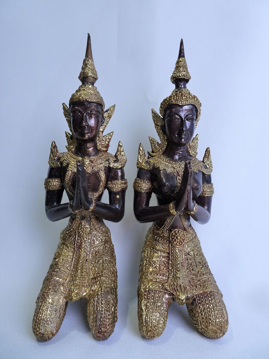 Temple guards (2) - Bronze, Gold plated - Thailand - Second half 20th century