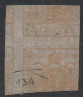 Lombardije-Venetië 1851 - 5 cents ochre yellow with print on recto and verso (straight counterproof) - Sassone N. 13A