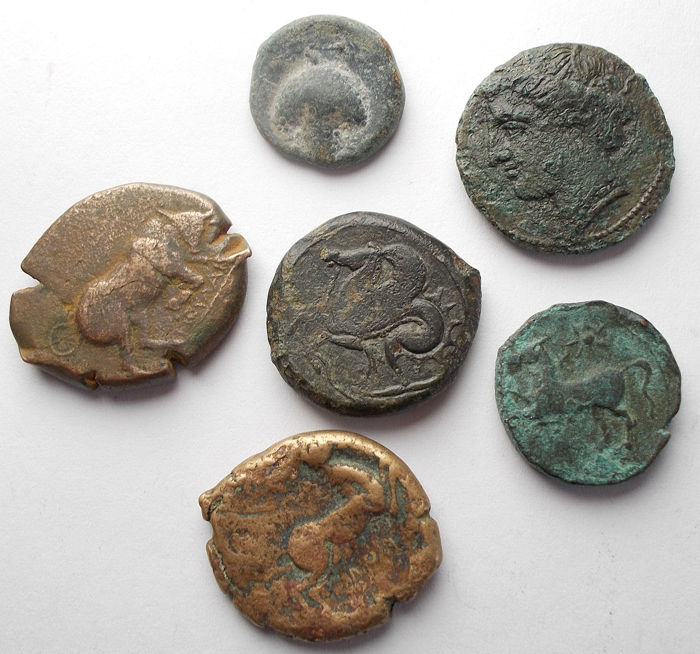 Griekenland (oud) - Lot of 5 AE coins Including Syracuse Athena/Hippocamp