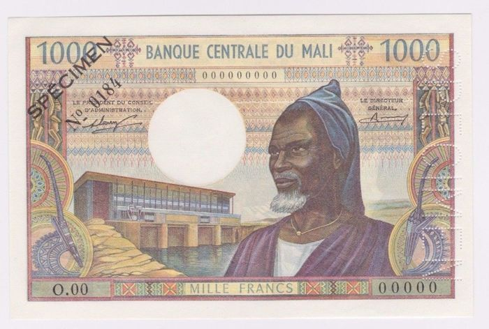 Mali - 1000  Francs ND(1970-73) - SPECIMEN - Pick 13a