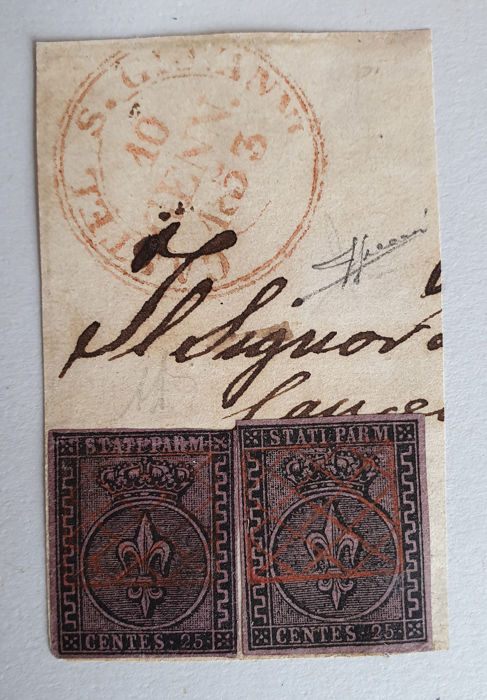 Parma 1852 - Two 25c on fragment with rare cancellation - Sass. 4
