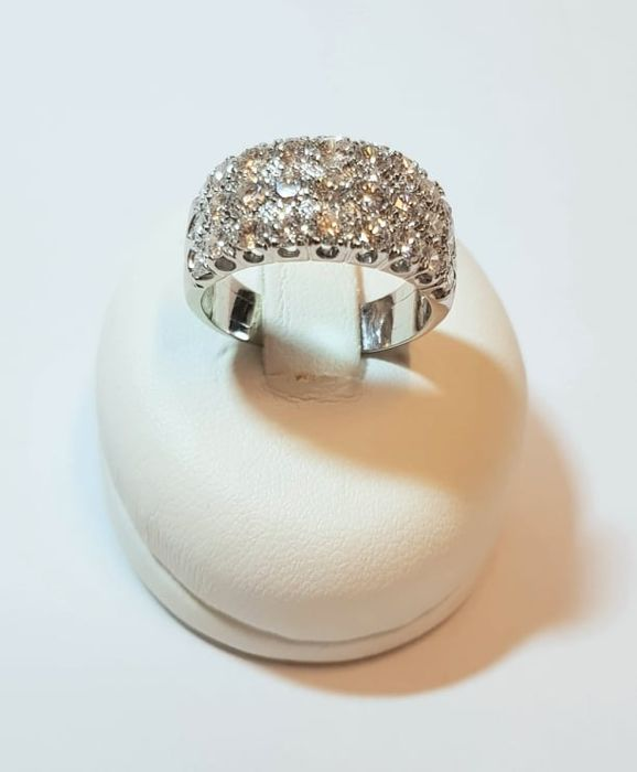 Valenzana Po - Made in Italy - 18 karaat Witgoud - Ring Diamant