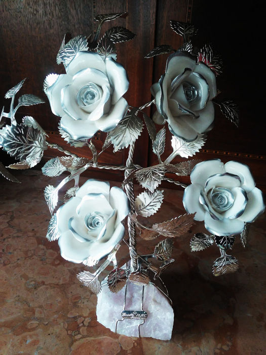 F.N.C.Firenze - Tree-silver-porcelain-Rose quartz - silver-porcelain