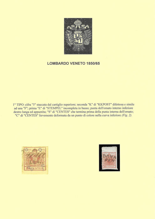 Lombardije-Venetië 1850 - Selection of stamps of various issues with subtypes of 15 and 30 cents mounted on sheets - Sassone vari