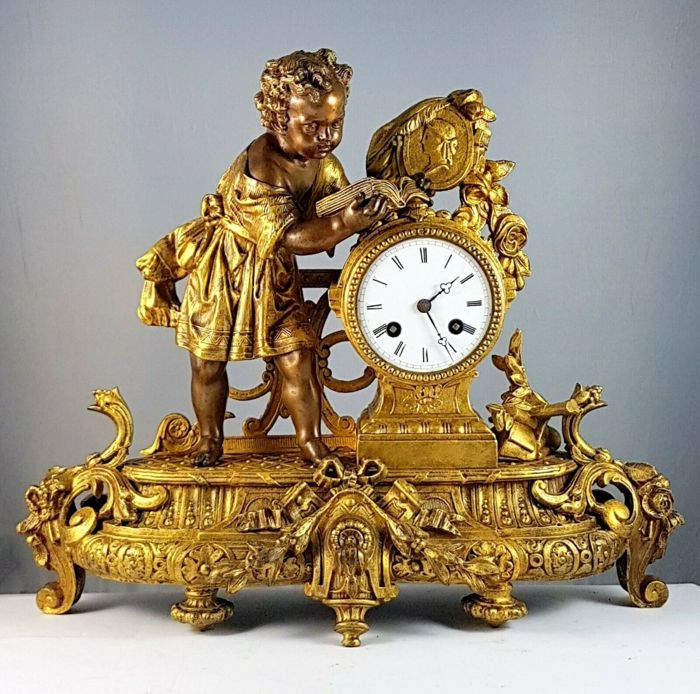 Louis XVI table clock - Bronze (gilt/silvered/patinated/cold painted) - Late 19th century