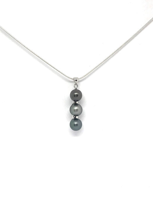 925 8-9 mm, Silver, Tahitian pearl - Necklace with pendant - (No reserve price)