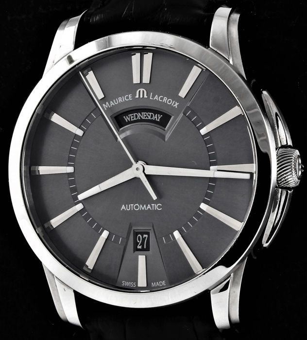 Maurice Lacroix - Pontos Day & Date Automatic Grey Dial -  Ref. No: PT6158-SS001-23E - Excellent - Full Set - Herren - 2007