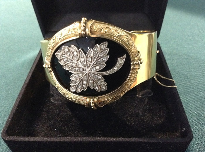 Bracelet, Russian imperial - Lithuania - 14 kt Gelbgold - Armband Diamant