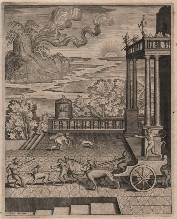 Antoine Caron (1521–1599) by Jaspar Isaac (1585-1654) - A chariot led by apes