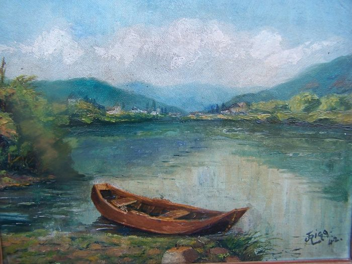 J Rigg (20th century - Boat at the lakeside