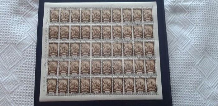 Italië koninkrijk 1935 - Previdenza Milizia, airmail, 50 cents + 50, brown, complete sheet of 50 pieces - Sassone N. A89