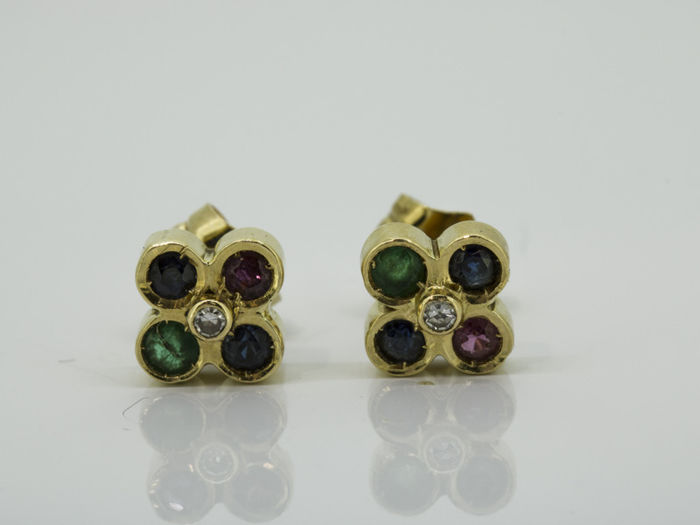 18 kt. Yellow gold - Earrings - 0.05 ct ruby, sapphire, emerald.