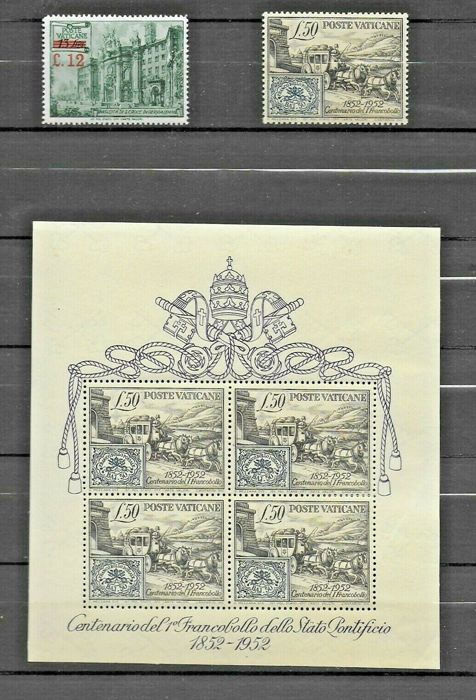 Vaticaanstad 1952 - Centenary of the 1st stamp sheet and two singles