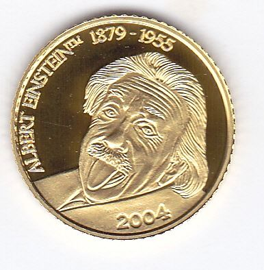 "Mariana Islands - 5 dollars 2004 ""Albert Einstein 1879 - 1955"" - Gold"