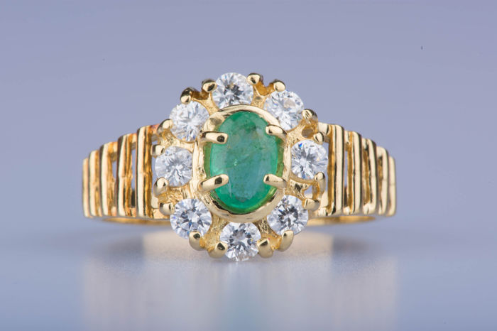 18 quilates Oro amarillo - Anillo - 0.50 ct Esmeralda - Diamante