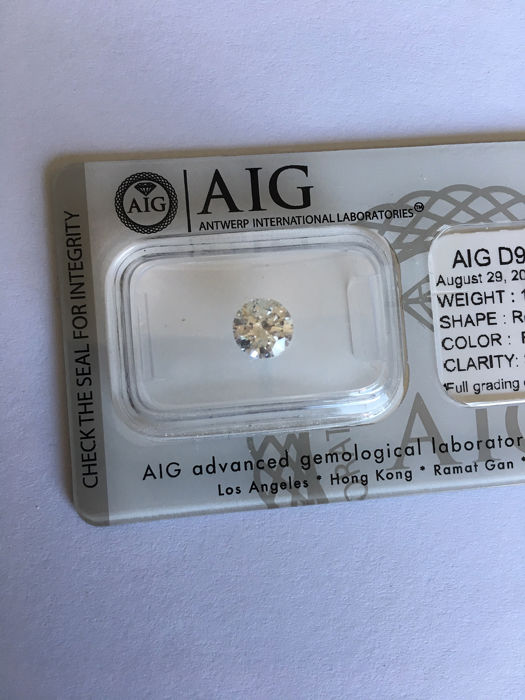 Diamante - 1.01 ct - Brillante - F - SI2
