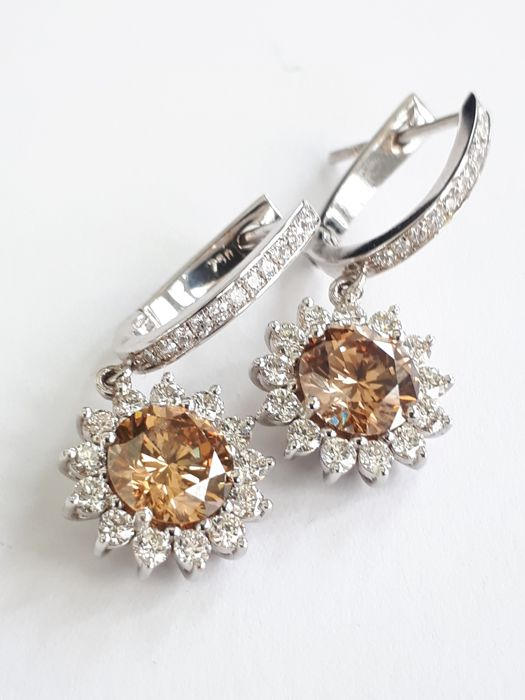 18 quilates Oro blanco - Pendientes - 3.31 ct Diamante - Diamante