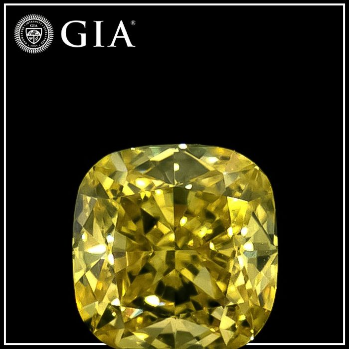 Diamant - 0.32 ct - Coussin - fancy intens yellow - SI1