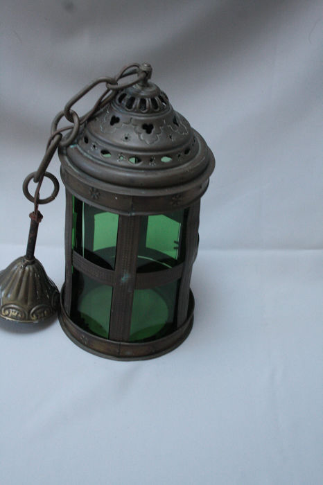 antique Amsterdam school lamp with mikado green glass windows - Glass (stained glass)