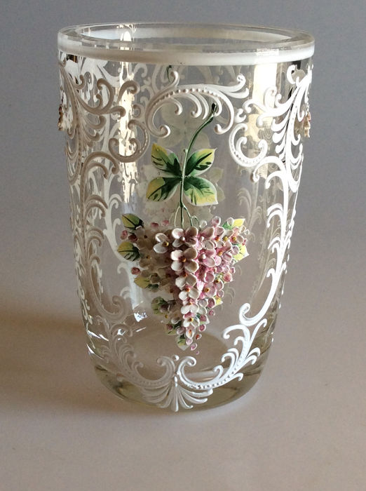 Bohemia  - Wonderful Hand-decorated Bohemia Enamel Vase in the style of Moser - Enamel, Glass