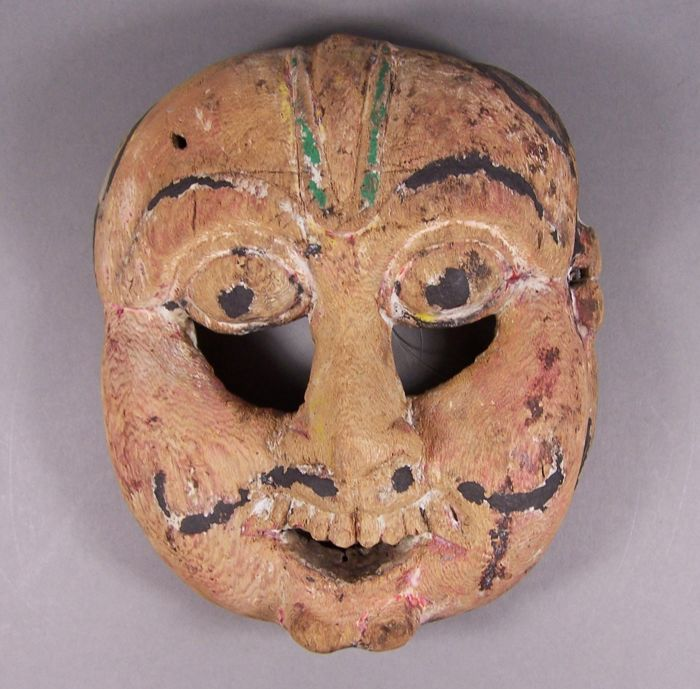 Mask - Wood - A West Nepalese animistic Gurung culture wooden mask of a protective spirit, ca 1900 - Nepal - Early 20th century