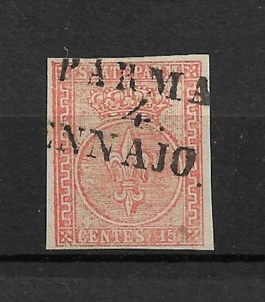 Italië 1853 - Ancient States - Parma 2nd issue 15 c. light vermilion, used - Sassone Parma n.7 b