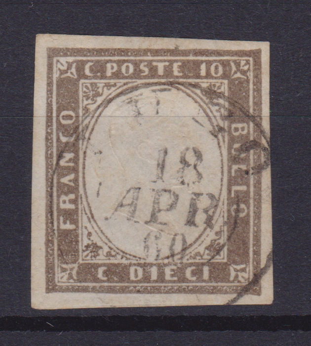 Sardinië 1858/1863 - 10 c. grey brown, issue of 1860 - Sassone N. 14Bd