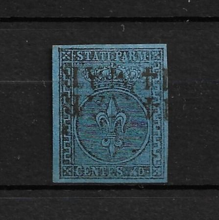 Italië 1852 - Ancient States - Parma Bourbon lily 40 c. light blue with larger decorations, used - Sassone Parma n.5 b