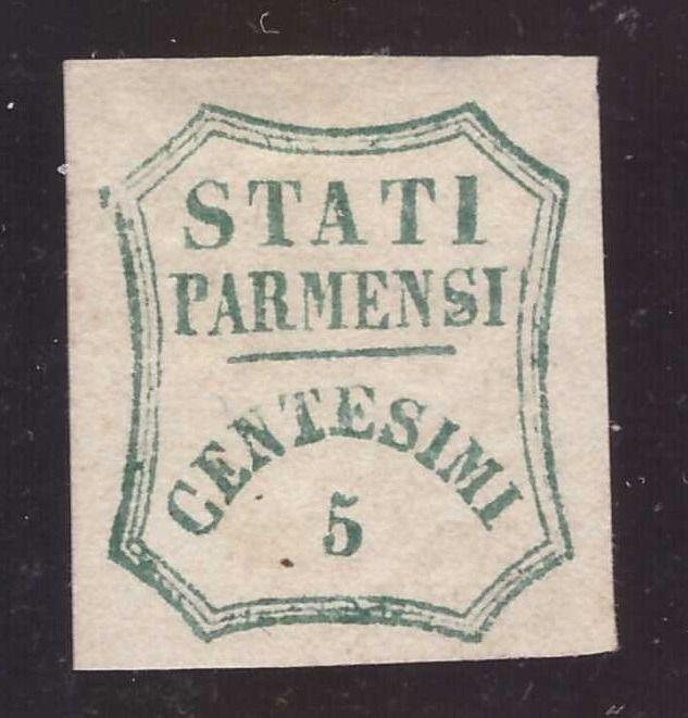 Parma 1859 - 5 cents azure green Provisional Government - Sassone N. 12