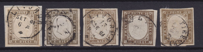 Sardinië 1858/1863 - 10c., lot of 5 stamps of different colours - Sassone NN. 14C,14Ca,14Cea,14Cg,14Ch