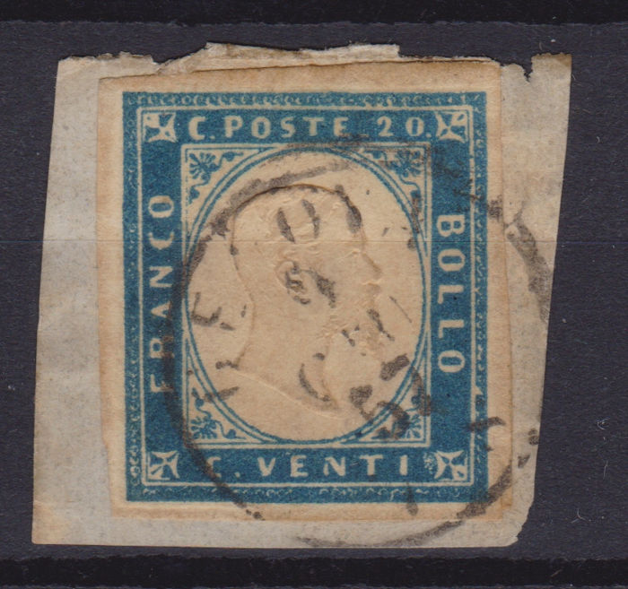 Sardinië 1855/1862 - 20 c. dark cobalt, issue of 1855 - Sassone N. 15b