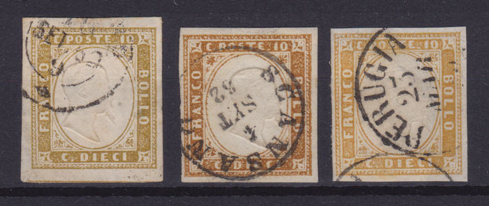 Sardinië 1858/1863 - 10 cents lot of 3 different colours - Sassone NN. 14Cm, 14Cn, 14Co