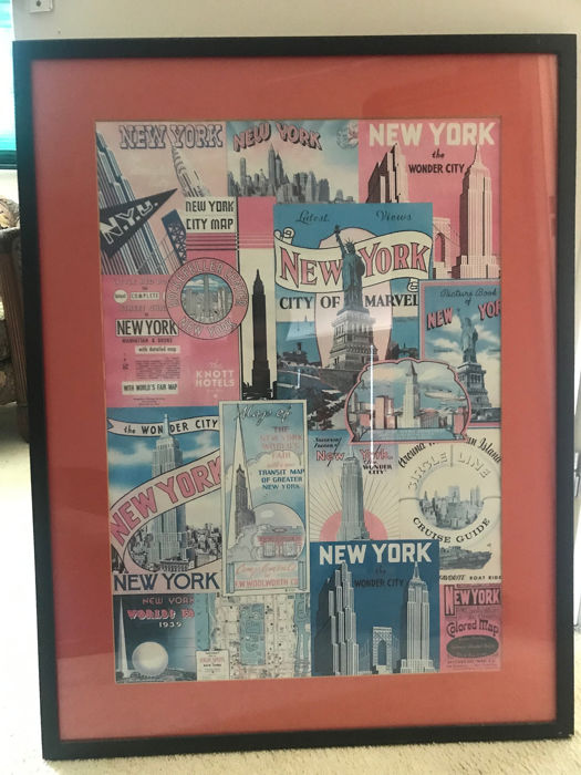 Collage vintage d'affiches publicitaires de New York - imprimé