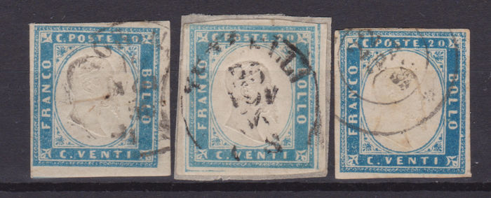Sardinië - 20c, issue of 1855, lot of 3 different colours - Sassone NN. 15,15ca,15f