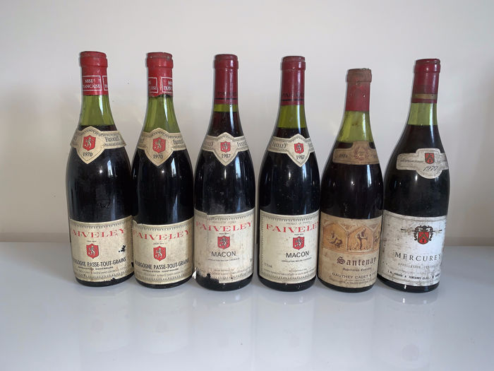 Mixed lot - 1970 Passetoutgrain Faiveley x 2 bts- 1987 Macon Faiveley x 2 bts - 1974 Santenay x 1 bt - 1977 Mercurey  - Bourgogne, Maconnais, Nuits St. Georges - 6 Bottles (0.75L)