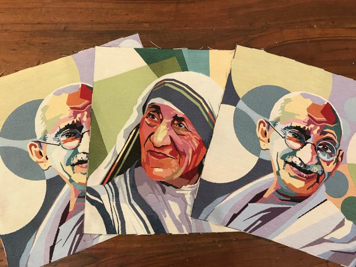 """3 pop art style gobelin tapestries with """"Mahatma Gandhi"""" and """"Mother Teresa of Calcutta"""" - Cotton - Unknown"""